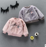 Ärmellose Baumwollspitzen Kinder Kaufen -Kinder sweatshirts mädchen stickerei lange ärmellose pullover mode kinder kunstpelz outwears winter kinder Verdicken Warme beiläufige tops G1569