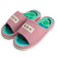 Wholesale Massage Slippers For Women - Wholesale- 2015 New Sale Foot Acupoint Massage Shoes Foot Health Care Magnet Therapy Slippers Striped Pattern Indoor Shoes For Women & Men