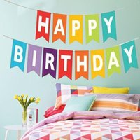 Cartas colgantes Happy Birthday Banner Garland Apoyos de fotos Bunting Garland Decoración de la boda Baby Shower Party Event