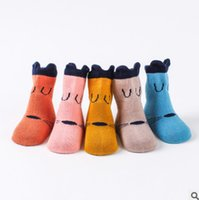 Wholesale Toddler Boy Warm Socks - Baby cotton socks toddler kids cute cartoon animal stereo ears girls boys candy color knitting socks autumn winter baby warmer legs R1063