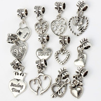 Angel LOVE Heart Flower Big Hole Beads 120pcs / lot Tibetan Silver Fit Charm Bracelets Jóias DIY B339-B958