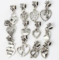 liebe engel armband großhandel-Engel LIEBE Herz Blume Großes Loch Perlen 120 teile / los Tibetischen Silber Fit Charme Armbänder Schmuck DIY B339-B958