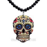 Wholesale Black Bead Skull Necklace - Colorful Skull Pendant Necklace Black Beads Gold Color Alloy Necklaces Colares Femininos For Women