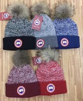 Wholesale Women Ca - Hot Winter unisex brand CA CANADA men knitted hat classical sports skull caps big fur pom-pom women casual outdoor beanies