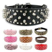 """Wholesale Black Spike Collar - 2"""" Wide Studded Spiked Leather Dog Collars for Pitbull Mastiff Boxer Medium Large Breeds 10 Colors 4 Sizes"""