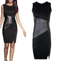 Wholesale S5Q Womens OL Black Bodycons Sleeveless Work Party Evening Cocktail Mini Sexy AAAEKO