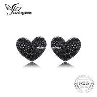 tachuelas de corazón negro al por mayor-JewelryPalace Fashion 0.29ct Natural Black Spinel Love Heart Earrings For Women Solid 925 pendientes de plata esterlina Stud