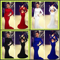 Wholesale Sexy Cross Skirt - Sexy Cross Backless Maxi Evening Dresses White Black Red Blue Bodycon Long Sleeve Runway Club Celebrity Prom Gowns Skirt 2015 In Stock Cheap