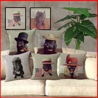 Wholesale Wholesale French Beds - 6 model Puppy French Bulldog Pillow Case Cotton Linen Cushion Cover Home Sofa Bed Square Throw Pillow Cases pillowcase Christmas Gift 240374