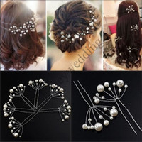 Wholesale Wedding Bride Hair Clips - 6 Pieces New Bridal Hair Accessories Flowers Beads Bride Hair Pearl Pins Comb Wedding Dresses Accessory Charming Headpieces