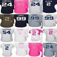 8088aae75 Baseball Women Short 2017 Womens New York Jersey 2 Derek Jeter 24 Gary  Sanchez 99 Aaron