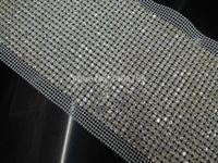 ingrosso cristallo bianco 5mm-DHL libero! 24 righe cucire su cristallo trasparente strass reticolato 5mm cupchain Base argento tessuto bianco cucito fai da te pizzo 5 yards / rotolo