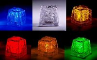 Wholesale Multi Flashing Ice Cubes Lights - 200 pcs Multi LED Color Changing Flash Light Ice Crystal Cube for Party Wedding Event Bars Chirstmas Multi Color