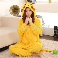 Wholesale Onesie Pyjamas - 2016 New Winter Flannel Sleepsuit Adult Cartoon Pikachu Pajamas Unisex Onesie Pyjamas Cosplay Costumes