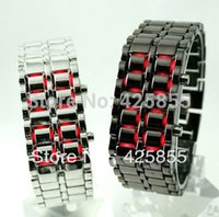 Wholesale Samurai Iron Steel Blue - 2016 hot selling Men's style Red &Blue LED Metal Lava Style Iron Samurai Watch 016M