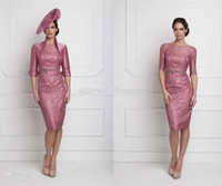 Wholesale Purple Lace Jackets - 2015 Purple Red Lace Exquisite Mother Of The Bride Dresses With Half Jacket Knee-Length Elegant Mother Gown Suits Sheath Bodice