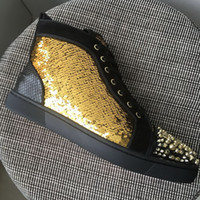 New Mens Womens Gold Glitter Gold Leather Com Black Spikes High Top Red Bottles Sneakers, Brand Design Lovers Casual Shoes 35-47Drop Shipping