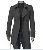 Wholesale 2014 new winter fashion boutique male trench coat Men s casual long double breasted dust coat