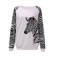 Wholesale Zebra Print Blouse - Autumn Winter Blouse 2015 Long Sleeve Zebra Letter Print Pullover Sport Hoodies Women Casual O Neck Hoody Sweatshirts Plus Size
