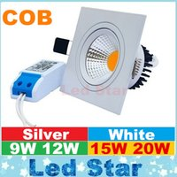 Wholesale Cob Down Lights - square led downlight 9w 12w 15w 20w cob led down lights dimmable led recessed lights ac 110-240v
