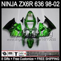ingrosso zx6r 1998 99-8Gifts + Body For KAWASAKI Fiamme verdi NINJA ZX6R 98-02 ZX636 ZX 636 MY33 ZX-6R ZX 6R 98 99 Nero 00 01 02 1998 1999 2000 2001 2002 Carenatura