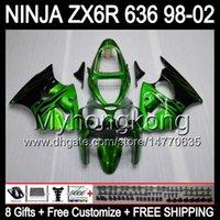 zx6r 1998 99 venda por atacado-8Gifts + Corpo Para KAWASAKI chamas Verdes NINJA ZX6R 98-02 ZX636 ZX 636 MY33 ZX-6R ZX 6R 98 99 Preto 00 01 02 1998 1999 2000 2001 2002 Carenagem