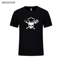 Wholesale bbq red - 2018 New Chef Skull Printed Short Sleeve T Shirt Men Diet Culinary Grilling BBQ T-shirt Funny Chef Gift Tops Tees