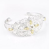 Holiday Gift Brilhante Crystal Fire Stars Citrine Gemstone 925 Sterling Silver Plated Bracelet Bracelet Bracelet Russian Jewelry