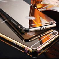 Wholesale Iphone 5s Case Luxury Aluminum - For iphone 6 5 5S i6 Plus Luxury Clear Mirror Metal Aluminum Bumper Hybrid Hard Phone Back Case Cover For iphone6 6plus i6+