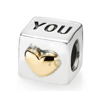 Wholesale Pandora I Love Charm - 925 sterling Silver charms I Love You beads for Pandora Bracelets necklaces jewelry Making