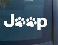 Wholesale Dog Door For Window - (100 pieces  lot) Wholesale Wrangler Cat Dog Paw Paws Print Feet Vinyl Car Decal Decals Sticker window for Jeep