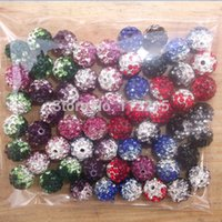 Wholesale Shamballa Pcs - Wholesale-Freeshipping 50 PC Mix Color 10mm AB Crystal Disco Ball Interval Gradient Color Shamballa Beads 6 color pick