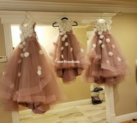 Wholesale kids flora dress - Real Photo Dusty Rose 2017 Flower Girls White 3D Flora Appliques Floor Length Tulle Kid Birthday Pageant Gown First Communion Dresses Custom
