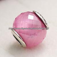 Wholesale Facet Necklace - Pink CZ Petite Facets Charm 925 Sterling Silver Bead Fits European Pandora Jewelry Bracelets Necklaces & Pendants