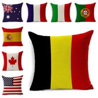 travesseiros de bandeira britânica venda por atacado-Bandeiras nacionais de Alta qualidade Almofadas Americano Britânico Canadá Bandeiras Francesas Fronha Home Office Decorações Bonito Travesseiro cobre E346J