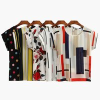 Wholesale Stripe Batwing Shirt - Summer Women Chiffon Blouses Floral Polka Dots Stripes Print Casual Blouse Shirt O-Neck Short Sleeve Beach Tops White Black CJG1103