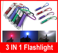 Wholesale Wholesale Mw Laser Pointers - New 3 in 1 5 mw Laser Pen Pointer + Mini LED FlashLight Torch Flashlight +Emergency Keychain Free Shipping