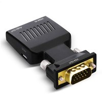 projetor conversor portátil venda por atacado-Vga para hdmi conversor com adaptador de áudio 1080 p macho para fêmea 15 pinos plugue com 3.5mm AUX porta de áudio para laptop projetor hdtv