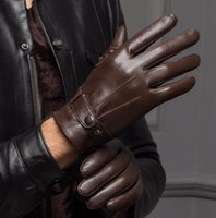 Wholesale Thin Black Leather Gloves - Male 2017 Spring Winter Real Leather Short Thin Thick Black Brown Touched Screen Glove Man Gym Luvas Car Driving Mittens