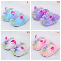 Wholesale cute anime slippers - Cute Unicorn Plush Slippers Shoes Cartoon Anime Lovely Winter Warm Indoor Home Slippers Children Shoes Colors Pairs OOA3342