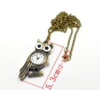 "Wholesale Antique Bronze Owl Necklace - 2015 NEW Bronze Tone Necklace Quartz Owl Pocket Watch 85cm(33-1 2"").B16343 HOT sale New Arrival Pocket & Fob Watches"