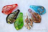 Wholesale Glass Gold Foil Beads - HOT 2016 DIY Charm European Beads Leaf Gold Foil Multi-Color Lampwork Murano Glass Pendant necklaces #pdt109c