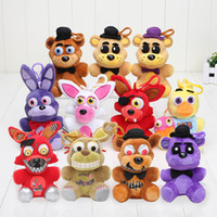 Compra Set D'oro Dorato-11pcs / Set 5 .5inch Five Nights At Freddy 4 Peluche Keychian Fnaf Plush Doll Foxy Fazbear Nightmare Fredbear Pendente Orso d'oro