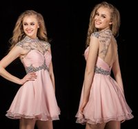 Wholesale Clubwear Backless Gown - 2016 Sexy Backless Short Beaded Crystal Homecoming Dresses High Neck Nude Pink Cocktail PartyDress Clubwear Graduation Gown Cheap Custom