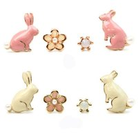 Wholesale Cute Pink Stud Earrings - Cute Pink Little Rabbit Stud Earrings Fashion Flower Pearl Earrings Gold Plated Ladies Girls Fine Jewelry 4pcs set