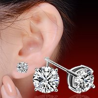 Wholesale Sterling Silver Korean Style Earrings - 30% 925 Sterling Silver Earrings For Women Cut Swiss Austria Diamond Vintage Style Silver Stud Earrings Fashion Korean Jewelry for Lady