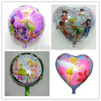 Wholesale Party Tinkerbell - 40pcs lot tinkerbell elfin mylar ballons birthday party decoration 18inch round four styles helium balloons