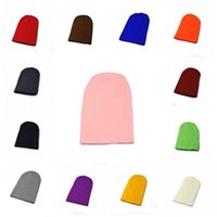 Wholesale wool double knit fabric resale online - Unisex Pure Color Fluorescent Cap Super Thick Double Layer Fabric Hat Universal Knitting Warm Beanie For Men And Women bd B