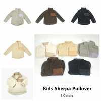 Wholesale wholesale soft fleece hoodies - Kids Sherpa Pullover Chrildren Winter Fall Fleece Soft Hoodie Sweatshirt Oversized 1 4 Button Sweaters 30pcs AP33