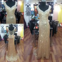Wholesale Gold Sequins Evening Dresses Beading Sheer Backless Charming Crystal Prom Dress High Quality Bling Party Gowns Real Images